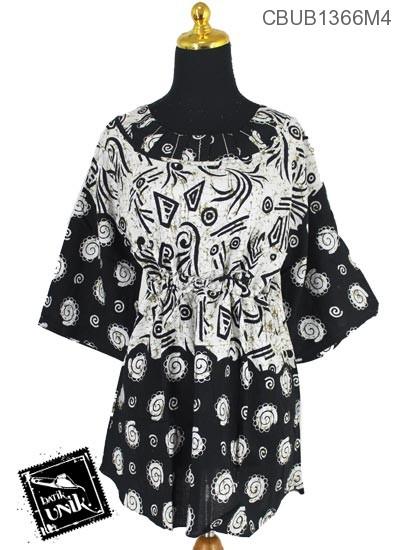 Baju Batik Blus Tanggung Tali  Pekalongan Motif Daun Geometri