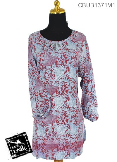 Baju Batik Blus Panjang Pekalongan Motif Godhong Kipas