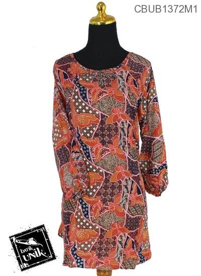 Baju Batik Terbaru  Blus Panjang Pekalongan Motif Kupu Jagad