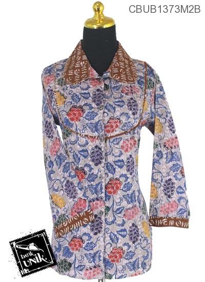 Baju Batik Blus Panjang Motif Godhong Bebe Cap
