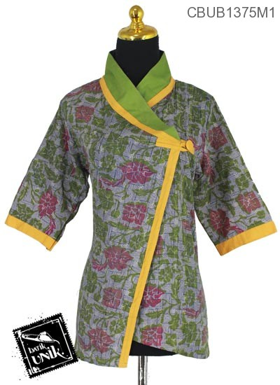 Baju Batik Terbaru  Blus tanggung Cap Motif
