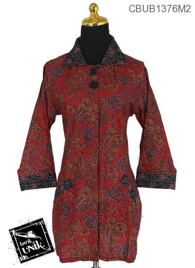 Blus Batik Panjang Pekalongan Motif Amuba Mekar