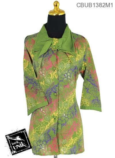 Baju Batik Terbaru  Blus Tanggung Motif Kembang Gradasi Miring