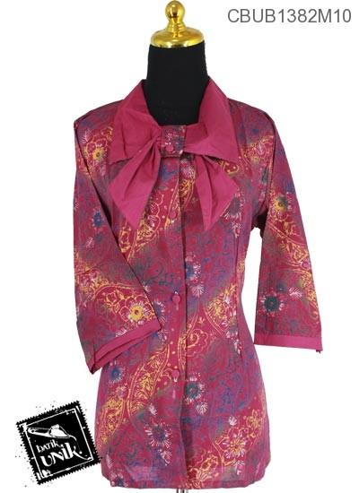 Baju Batik Blus Tanggung Motif Kembang Gradasi Miring