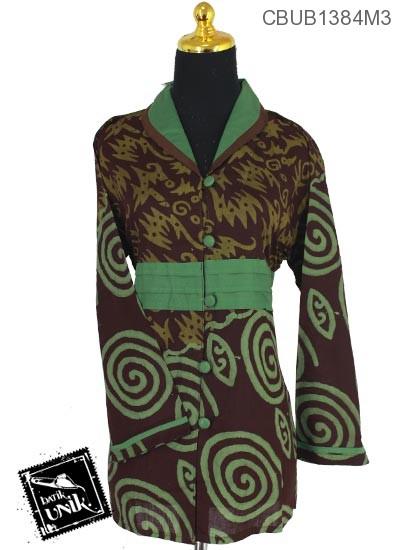 Baju Batik Blus Panjang Katun Motif Untir Abstrak