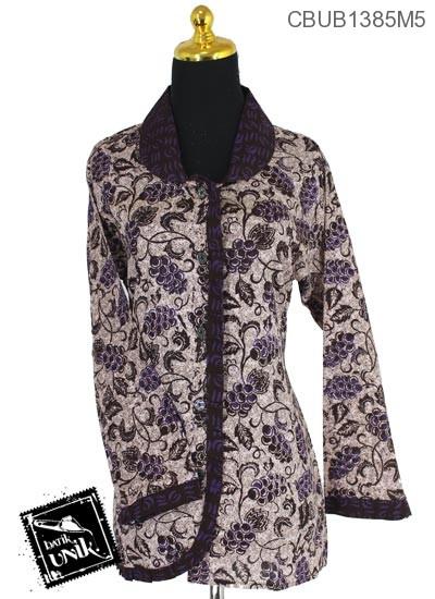Blus Batik Panjang Pekalongan Motif Sogan Warna Anggur