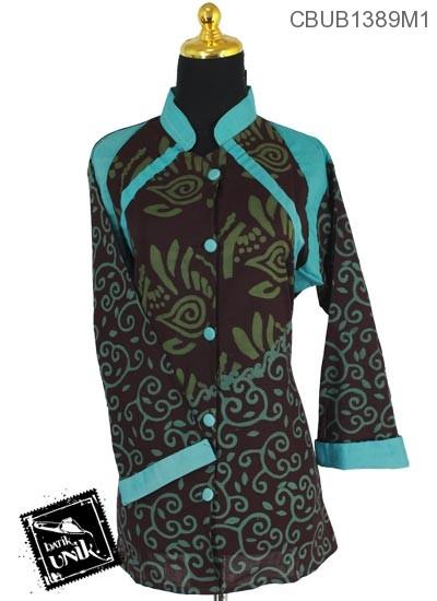 Blus Batik Terbaru  Tanggung Motif Kotemporer Cap Daun