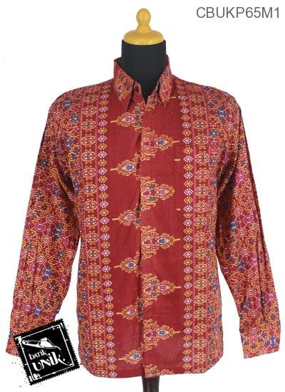 Baju Batik Terbaru  Kemeja Panjang Katun Motif Songket Manik