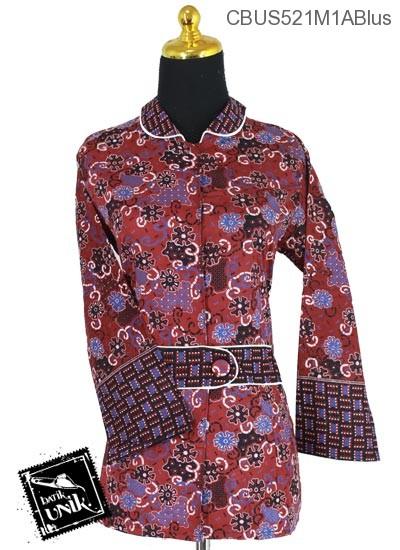 Baju Batik Terbaru  Sarimbit Blus Katun Motif Kembang Ceplok Tumpal