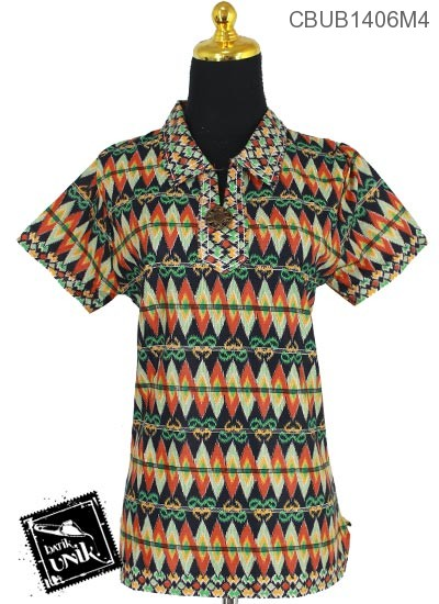 Baju Batik Blus Pendek Motif Rang Rang Anyam