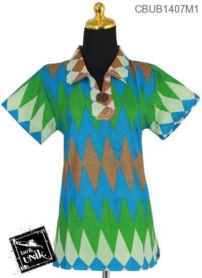 Baju Batik Terbaru  Blus Pendek Motif Rang Rang Salur