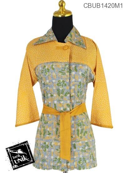 Baju Batik Terbaru  Blus Tanggung Katun Motif Anyam Winih