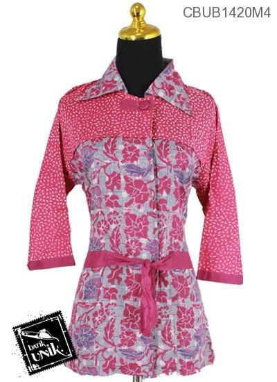 Baju Batik Blus Tanggung Katun Motif Anyam Winih