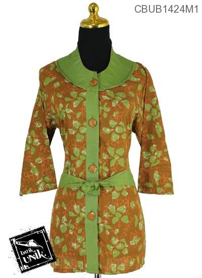 Baju Batik Blus Tanggung Pekalongan Motif Kotemporer Daun