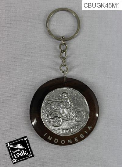 Gantungan Kunci Silver Motif Etnik Jogjakarta
