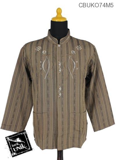 Baju Muslim Koko Pekalongan Motif Salur Gorden