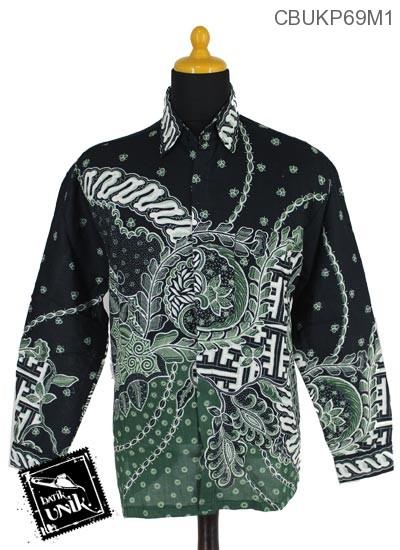 Baju Batik Terbaru  Kemeja Panjang Motif Godhong Buntel Banji