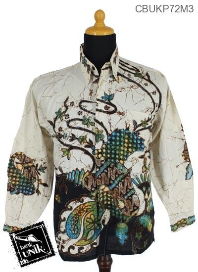 Baju Batik Kemeja Panjang Katun Motif Ceplok Runcing