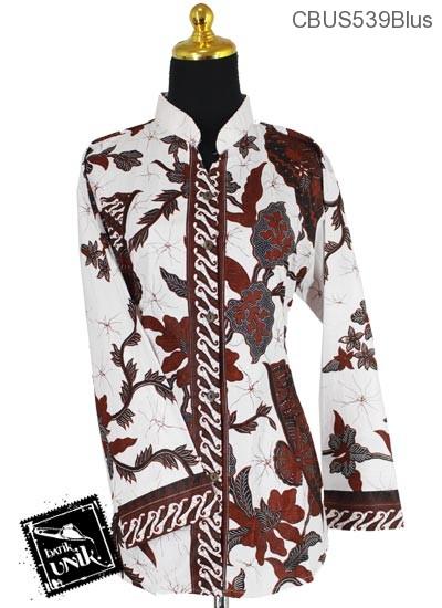 Baju Batik Terbaru  Sarimbit Blus Katun Motif Salur Kipas Tumpal