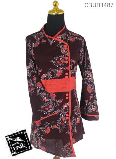 Baju Batik Terbaru  Blus Panjang Katun Motif Kembang Coklat