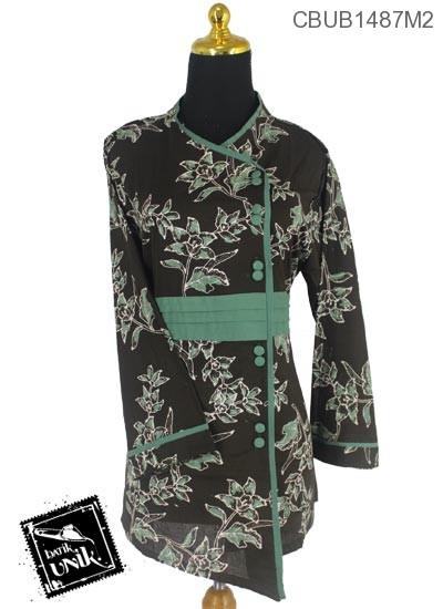 Baju Batik Blus Panjang Katun Motif Kembang Coklat