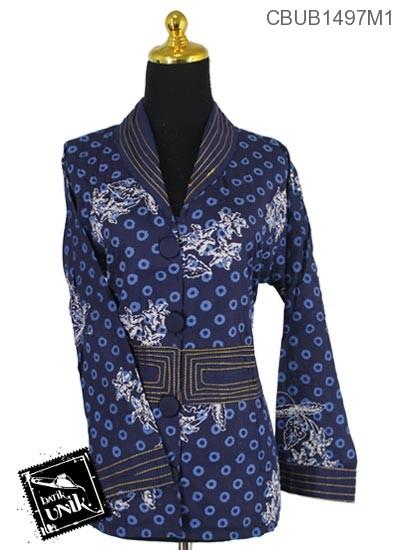 Baju Batik Terbaru  Blus Panjang Katun Solo Motif Ceplok Gundul