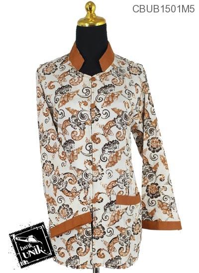 Baju Batik Blus Panjang Pekalongan Motif Sogan Kotemporer Coklat
