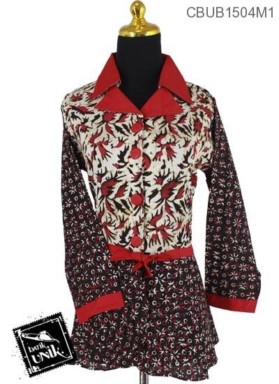 Blus Batik Terbaru  Panjang Katun Motif Campuran Sogan Warna
