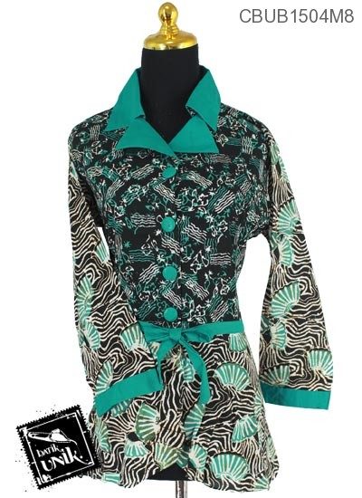 Blus Batik Panjang Katun Motif Campuran Sogan Warna