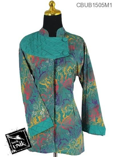 Blus Batik Terbaru  Panjang Motif Gradasi Daun