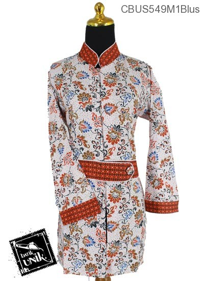 Baju Batik Sarimbit Blus Motif Bunga Seroja