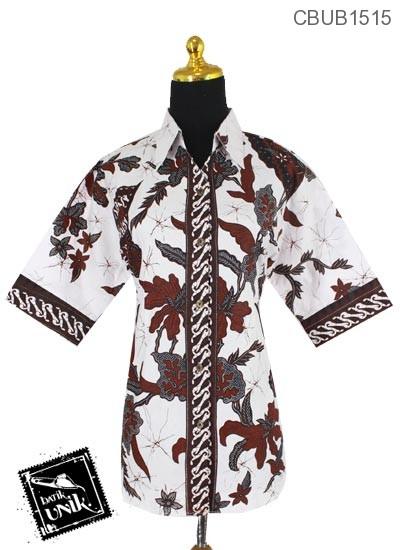 Baju Batik Terbaru  Blus Pendek Motif Salur Kipas Tumpal