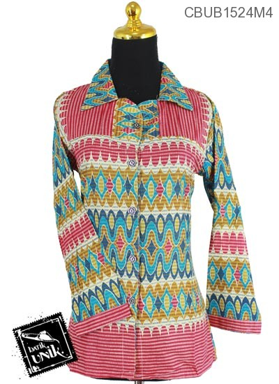 Blus Batik Panjang Katun Motif Coletan Pelangi