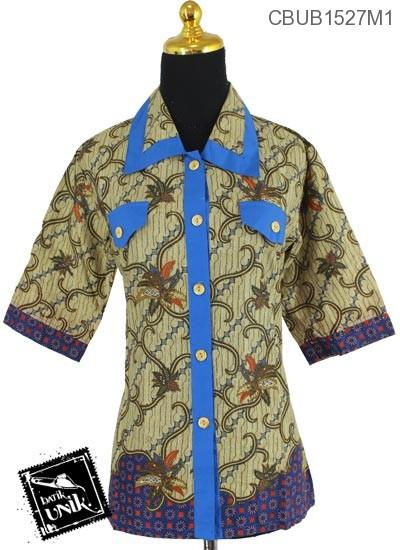 Baju Batik Terbaru  Blus Tanggung Motif Parang Bintang