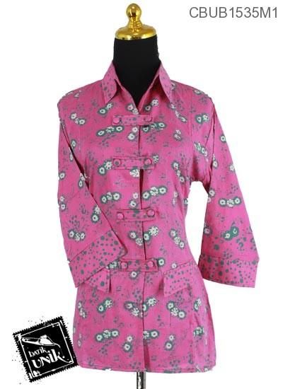 Blus Batik Terbaru  Tanggung Motif Ceplok Bunga Cerah