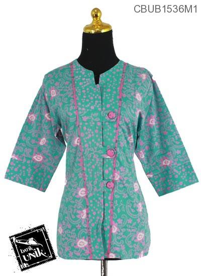 Blus Batik Terbaru  Tanggung Motif Kotemporer Daun Soft