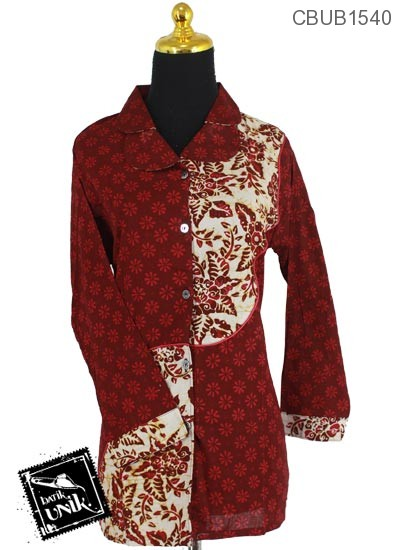 Baju Batik Terbaru  Blus Panjang Katun Motif Ceplok Tangkai