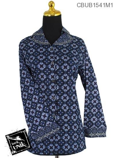 Baju Batik Terbaru  Blus Panjang Motif Ceplok Manggis Double