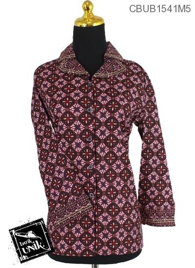 Baju Batik Blus Panjang Motif Ceplok Manggis Double