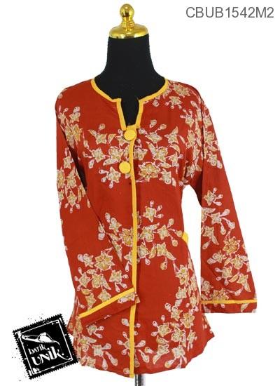 Kemeja Batik Panjang Katun Motif Kembang Tangkaian