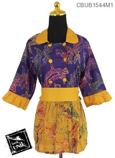Blus Batik Terbaru  Tanggung Motif Gedek Abstrak Bunga