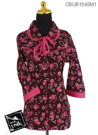 Baju Batik Terbaru  Blus Tanggung Motif Kotemporer Bunder