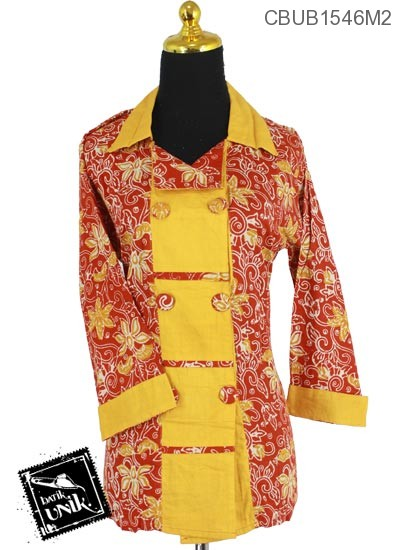 Baju Batik Blus Panjang  Motif Bambu Daun
