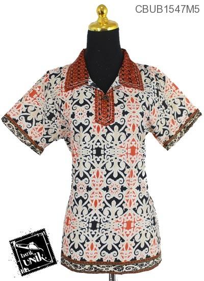 Baju Batik Blus Pendek Motif Songket Tumpal