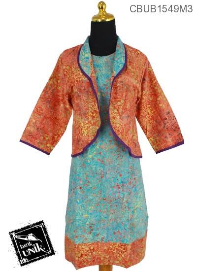 Dress Batik Ayu 2 Motif Sketsa Daun Pelangi