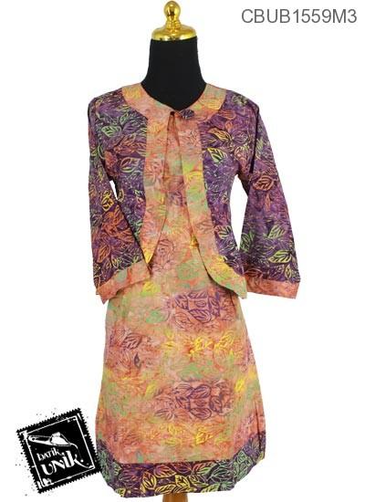 Dress Butik Ayu 2 Motif Sketsa Daun Pelangi