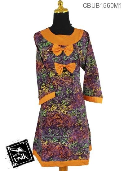 Dress Butik Monica Katun Motif Sketsa Daun Pelangi