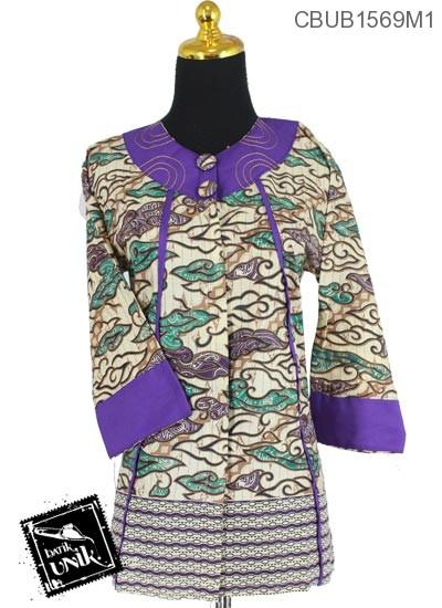 Baju Batik Terbaru  Blus Tanggung Motif Megamendung Tumpal