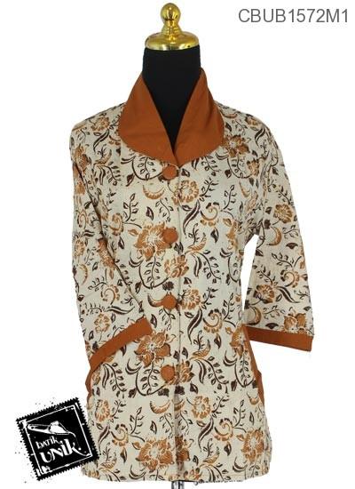 Baju Batik Terbaru  Blus Tanggung Pekalongan Motif Sogan Kotemporer Coklat