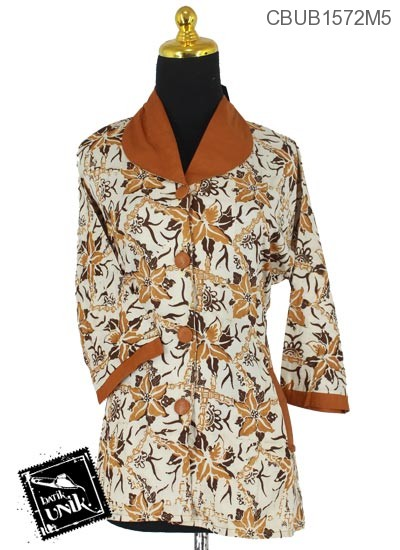 Baju Batik Blus Tanggung Pekalongan Motif Sogan Kotemporer Coklat